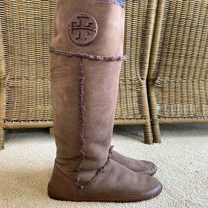 Tory Burch Shearling Boots- Brown